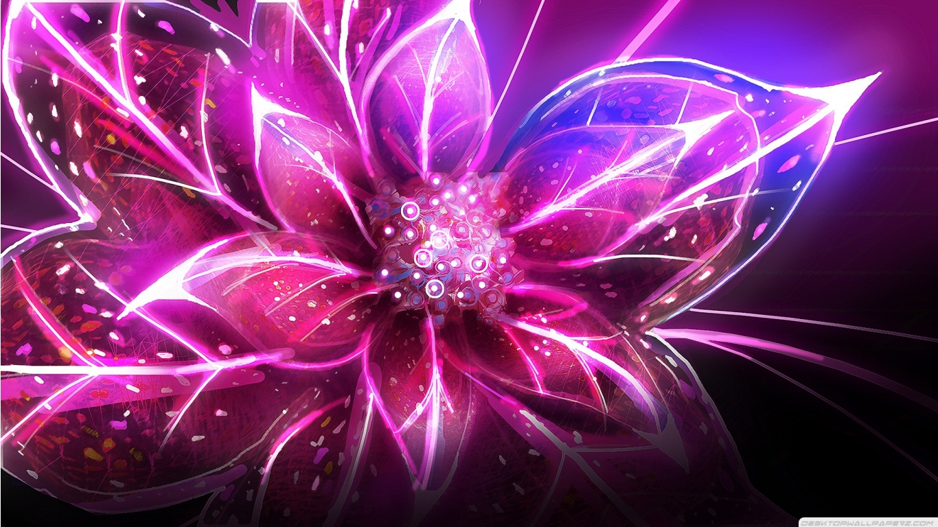 3d Abstract Fantasy Art Artwork Child Of Eden Colorful Flower Pink 1366x768