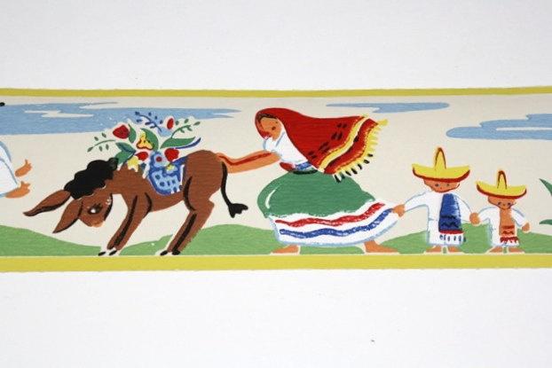 Full Vintage Wallpaper Border TRIMZ  Mexican Spanish Latino Pattern 622x415