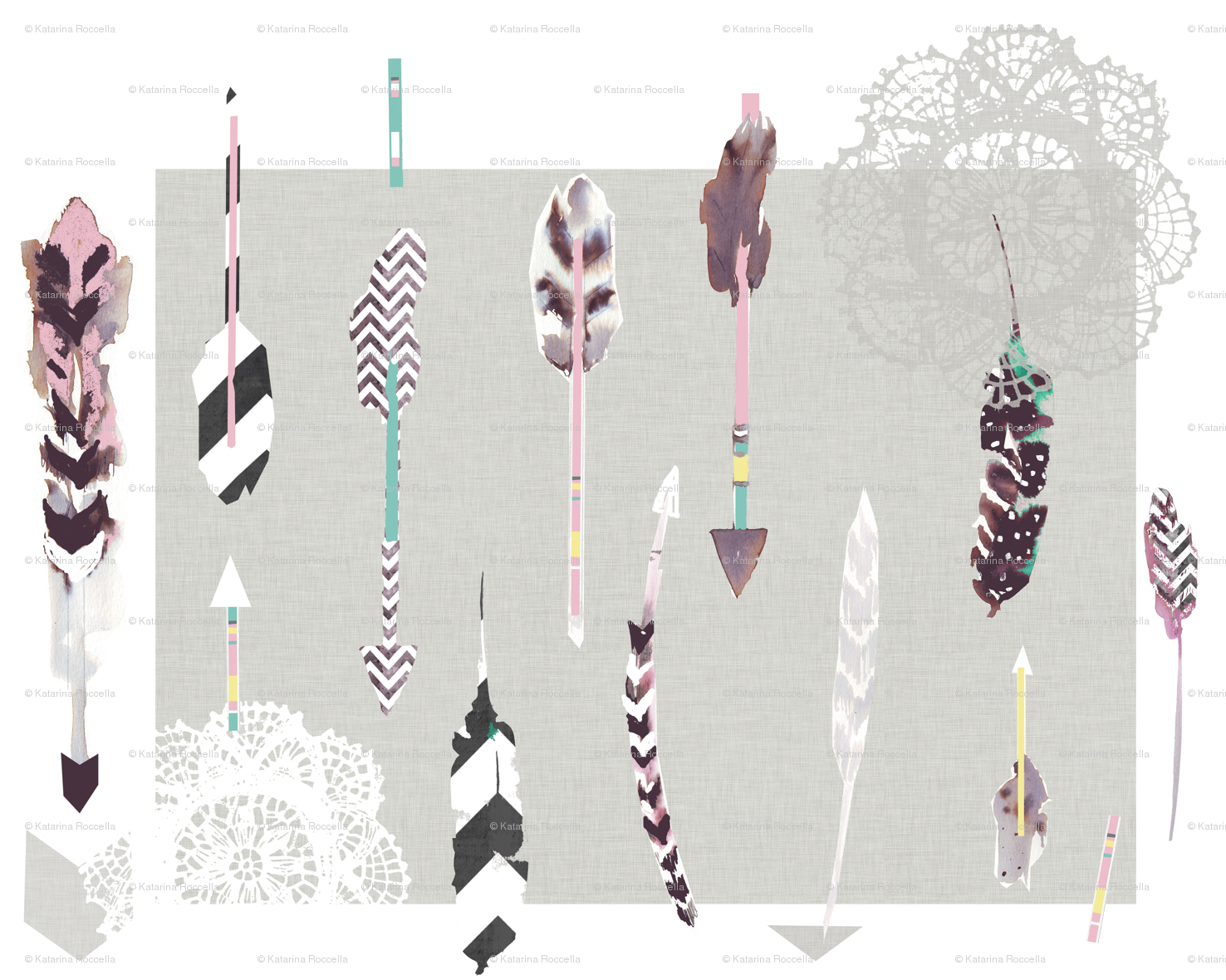 Arrows feathers giftwrap   katarina   Spoonflower 1476x1180