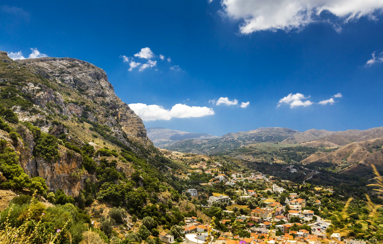 Wallpaper the sky clouds trees mountains home Greece valley 1332x850
