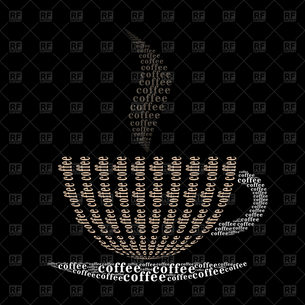 Coffee cup made of words on black background Vector Image of Signs 1200x1200
