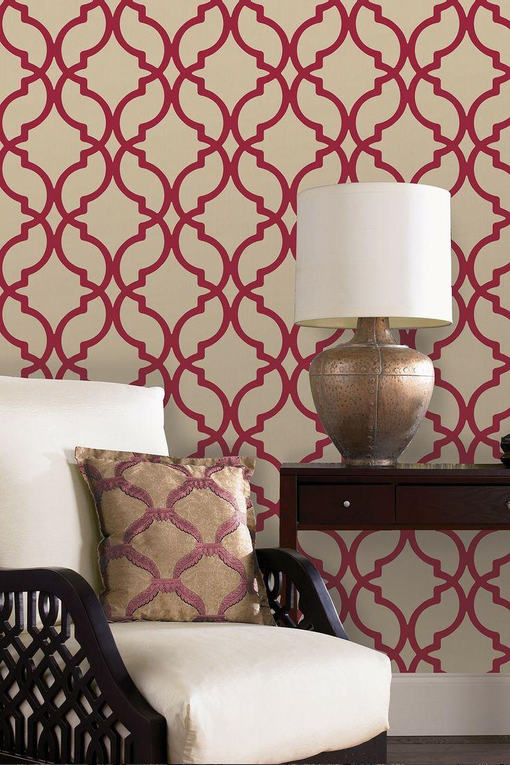 Harira Red Moroccan Trellis Wallpaper Decoration Living   Dining ro 736x1104