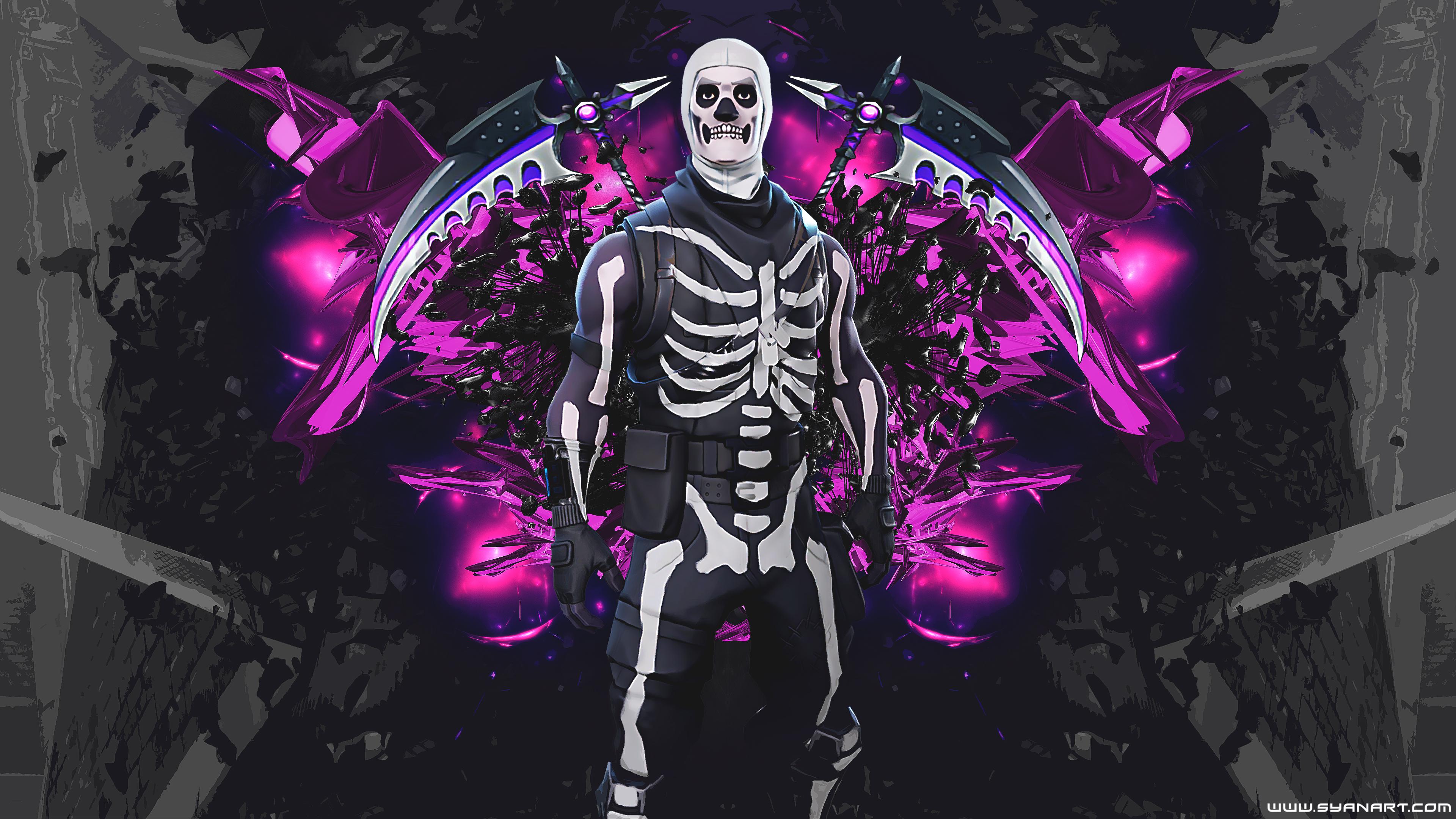 Fortnite Skull Trooper 4K Wallpaper SyanArt Station 3840x2160