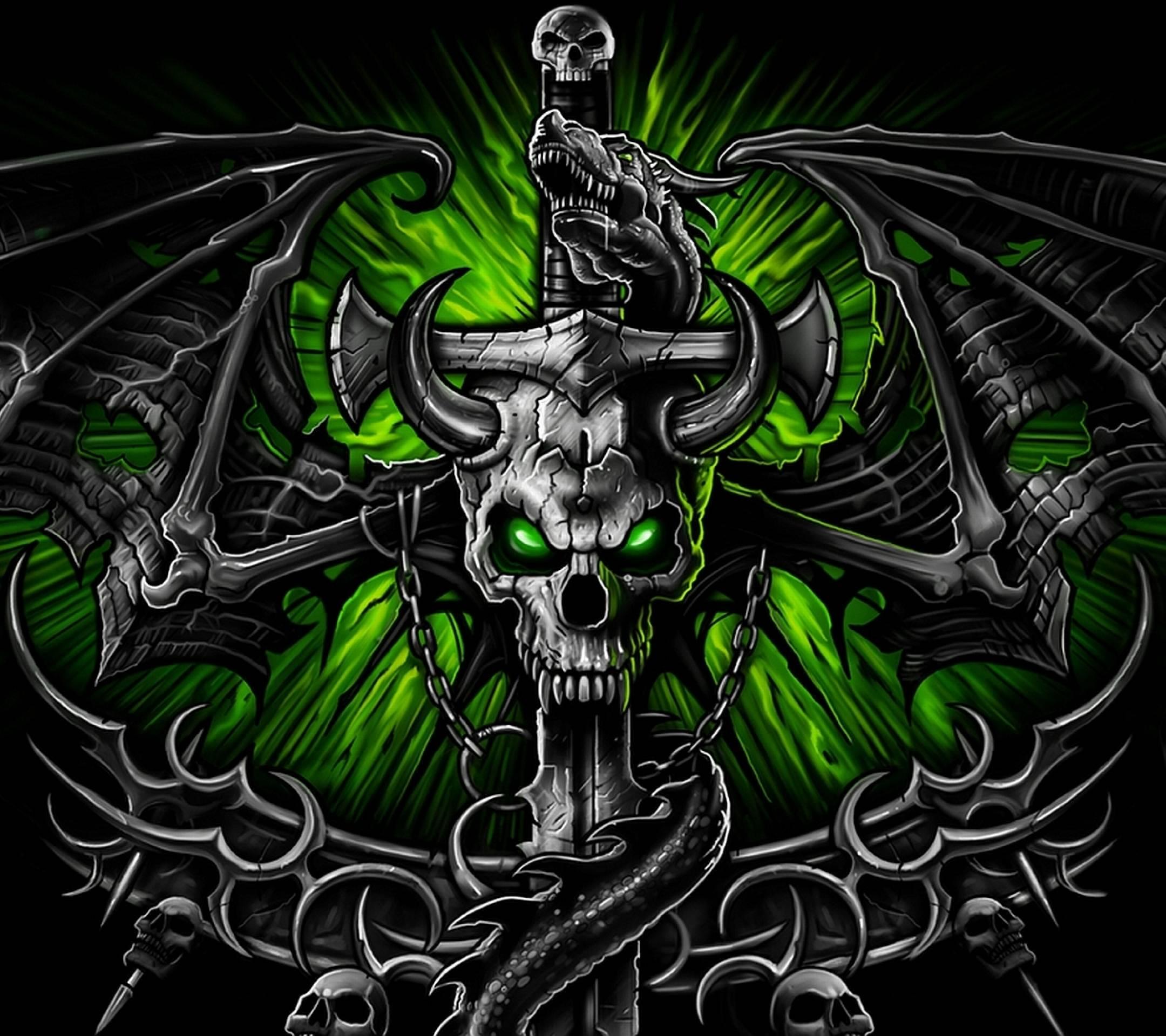 Green Skull Wallpapers 2160x1920