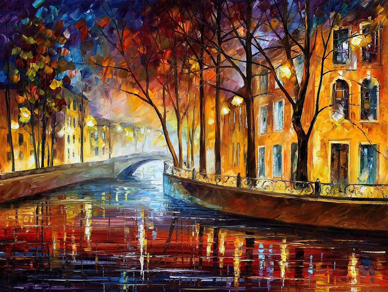 Bridge trees oil leonid afremov wallpaper   ForWallpapercom 1361x1024