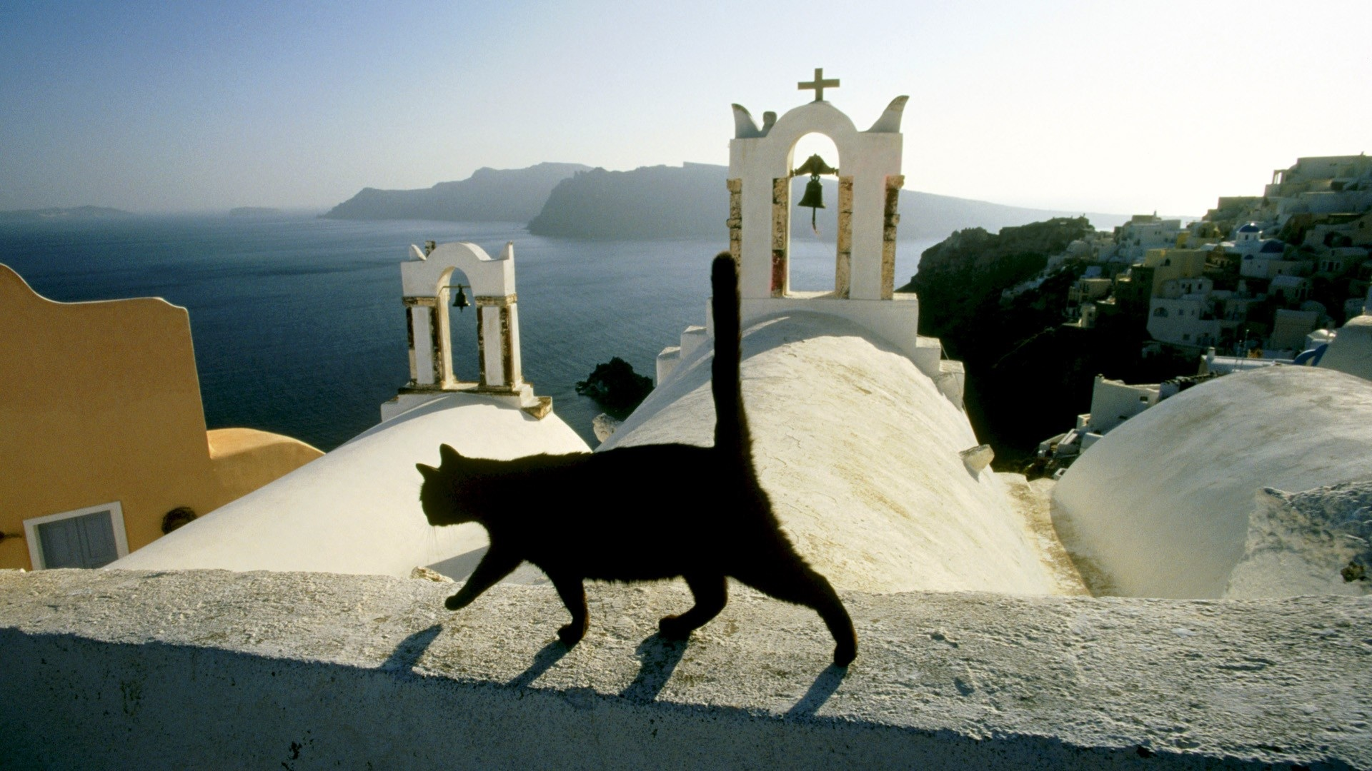 1920x1080 Black cat on the church roof in Greece desktop PC and 1920x1080
