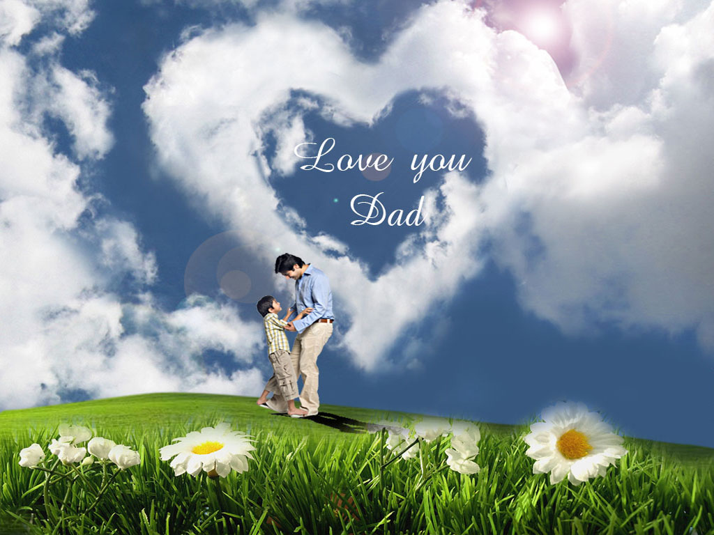 To download click on Love You Dad Cloud Heart Wallpaper then choose 1024x768