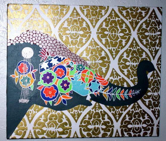MoroccanBohemianIndian Decorative Elephant by averycampbellART 570x484