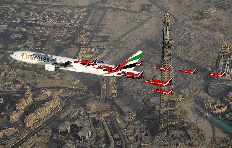 Wallpaper the plane large hawk Emirates family passenger for 1332x850