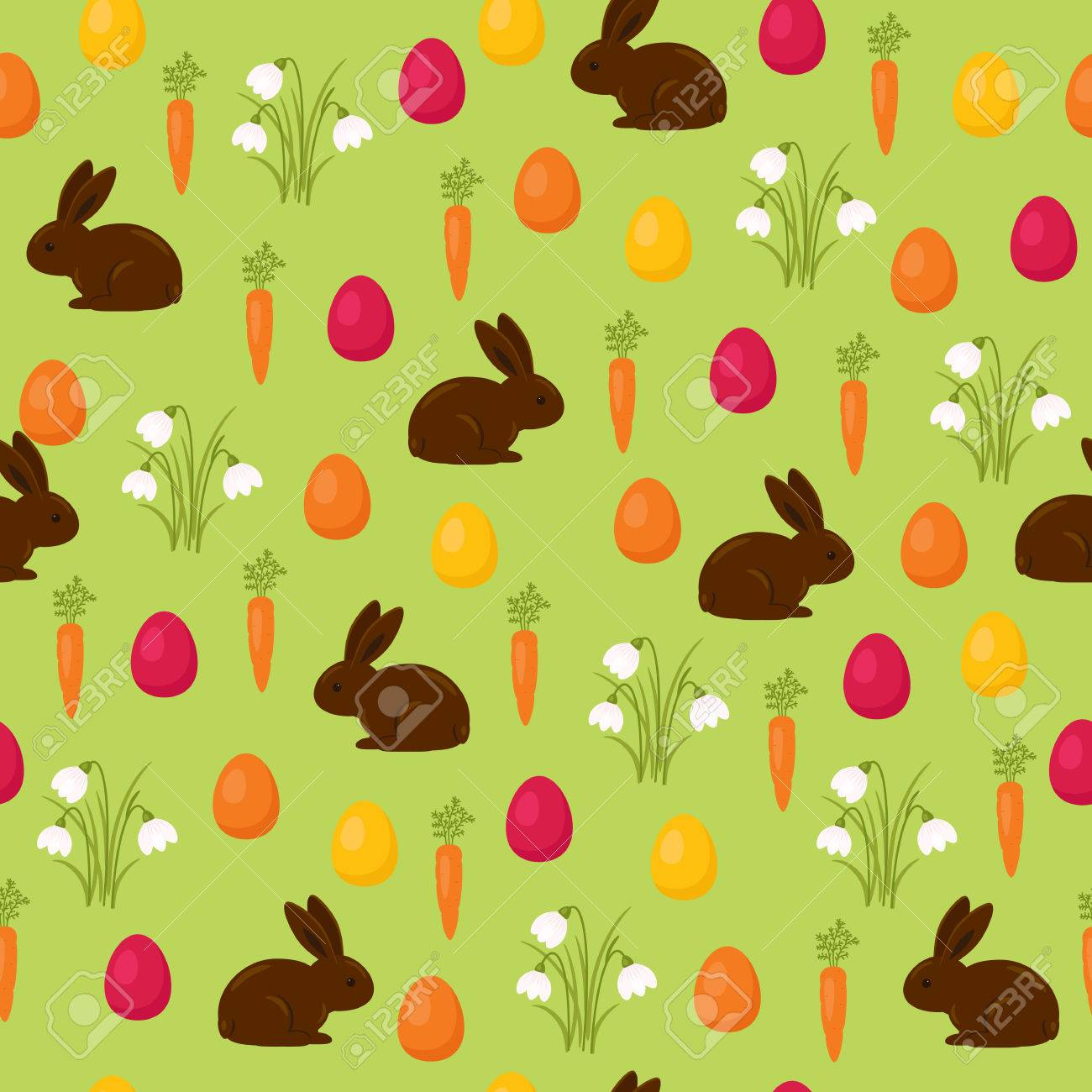 Easter Seamless Wallpaper Chocolate Bunny With Easter Basket 1300x1300