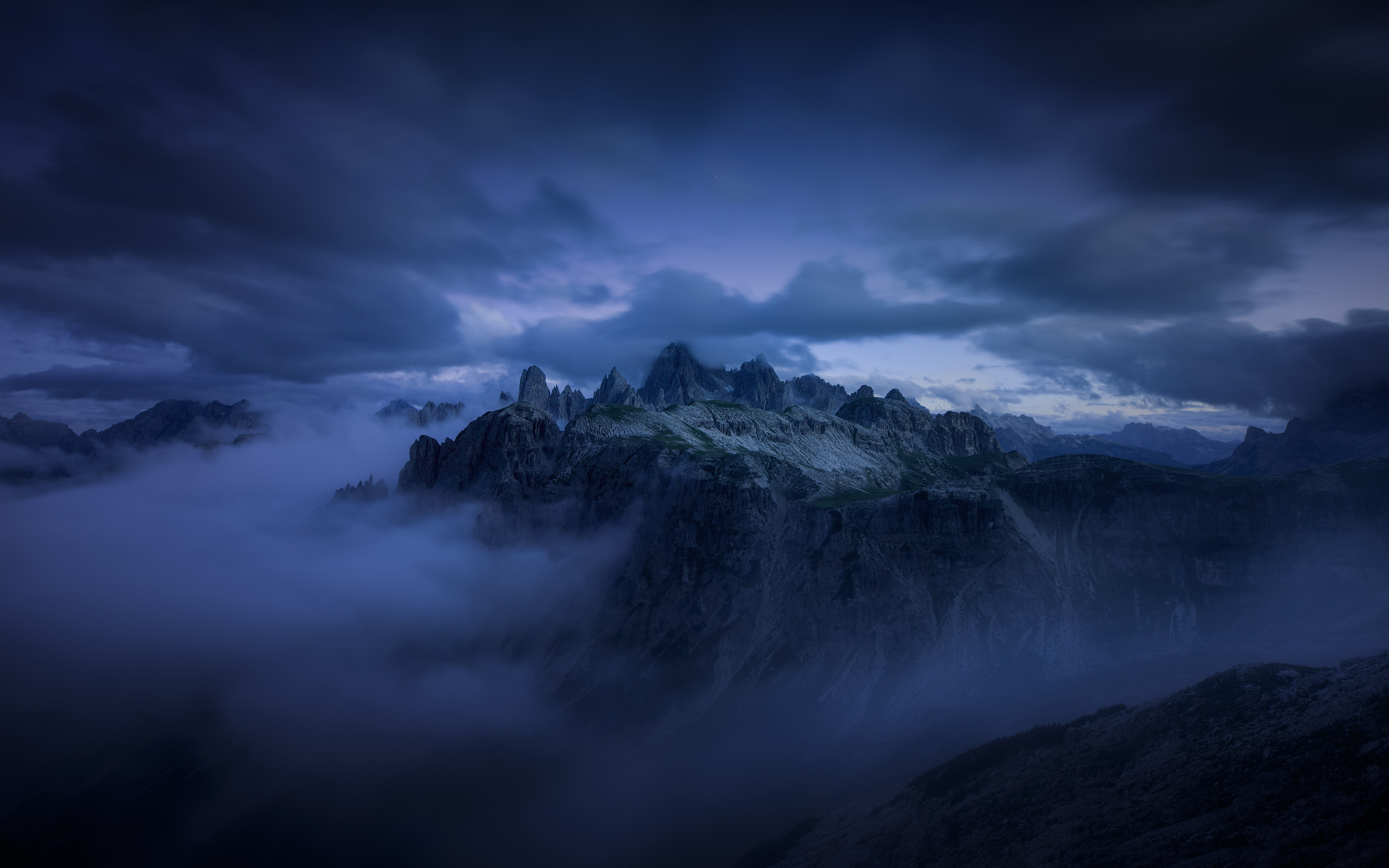 Dark Clouds over the Mountains 4k Ultra HD Wallpaper Background 3840x2400