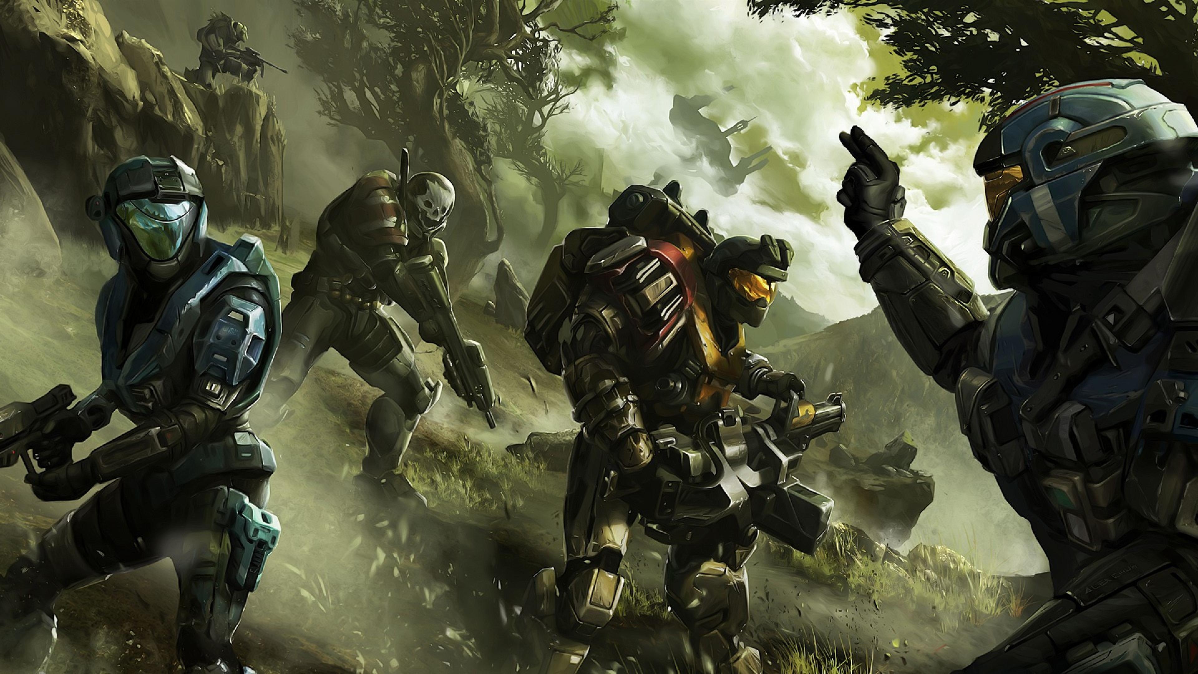 Download Wallpaper 3840x2160 Halo Soldier Commander Trees 4K Ultra 3840x2160