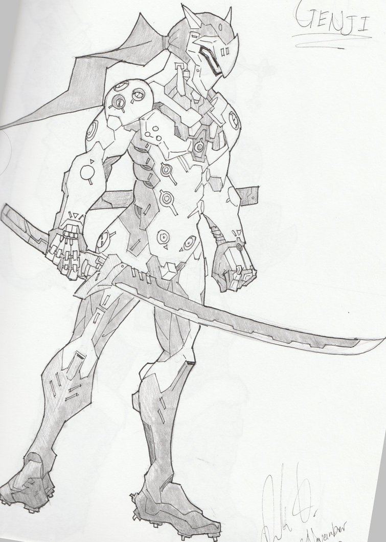 Overwatch Character Sketches Genji by JohnHollingsworth 755x1058
