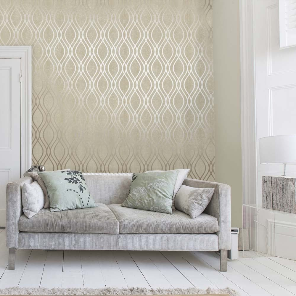 Henderson Interiors Camden Wave Wallpaper Cream Gold   Gold 1000x1000