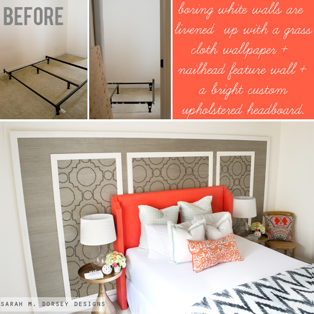 DIY Temporary Accent Wall with Grasscloth Nailheads   Homescom 640x640