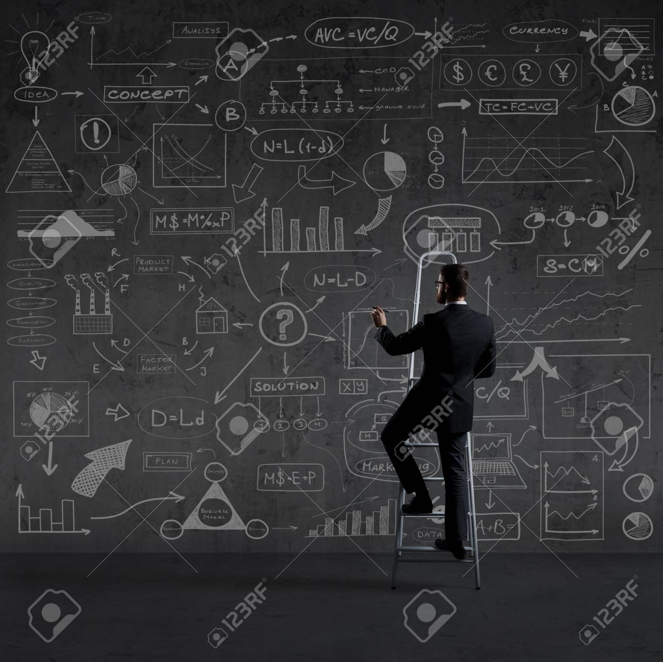 Businessman Standing On Stepladder Schematic Background Business 1300x1299