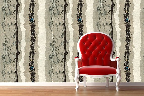 Fabric Temporary Wallpaper Repositionable Reusable  FAST EASY 570x379