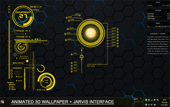 Windows 78 3D Themes Iron Man Jarvis UI   Hacking HOst 550x346