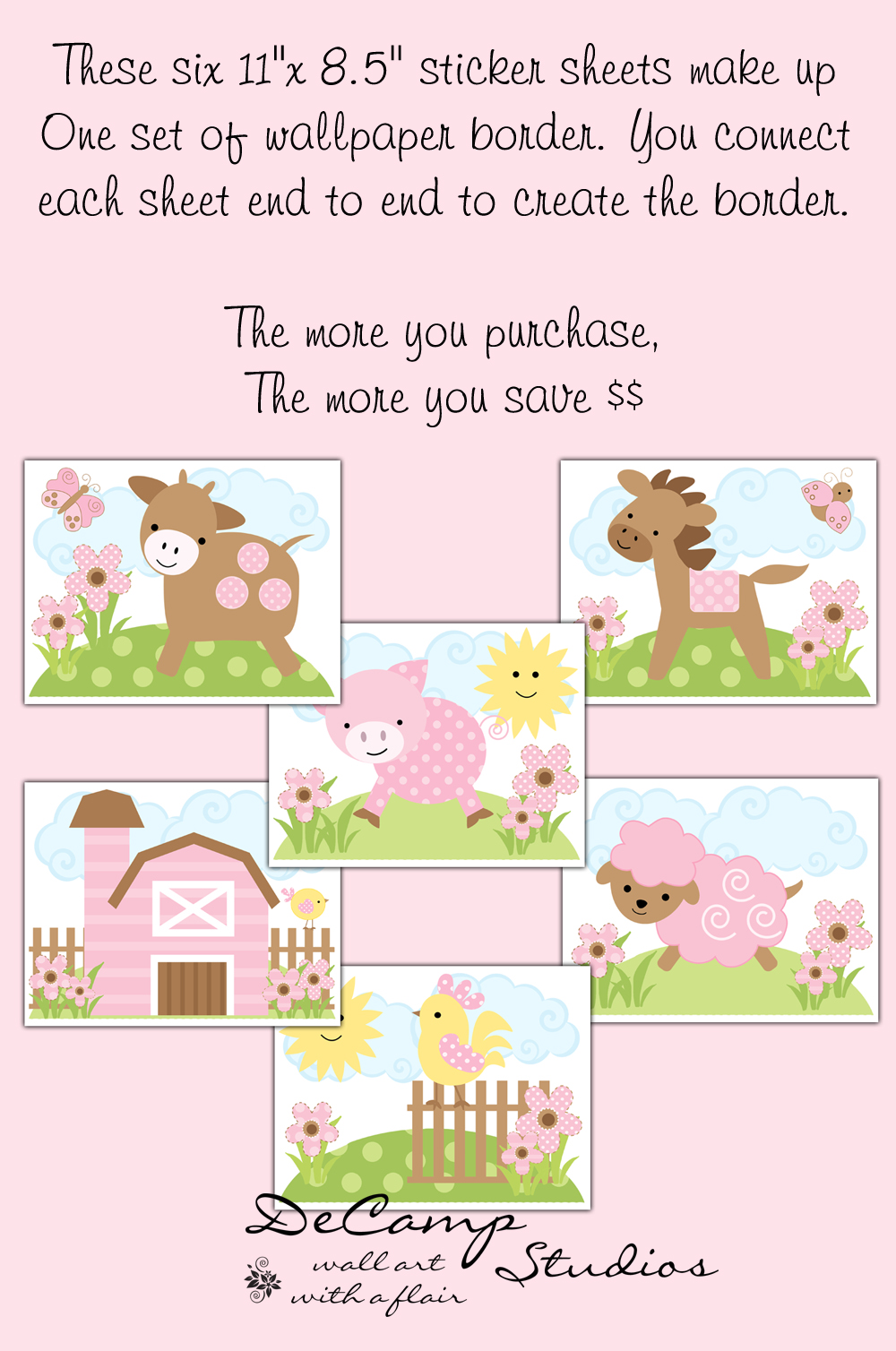 Brown Barnyard Animals Wallpaper Border Wall Decals for baby girl farm 1000x1508