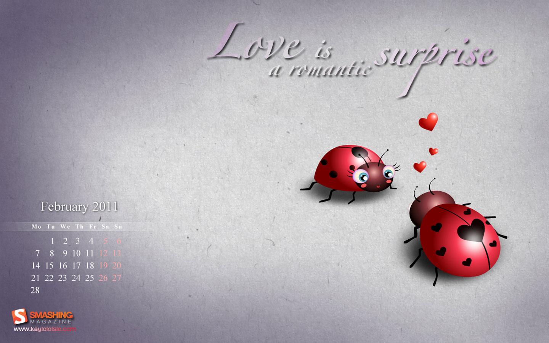Wallpapers   Love Ladybugs February 2011 Calendar wallpaper 1440x900