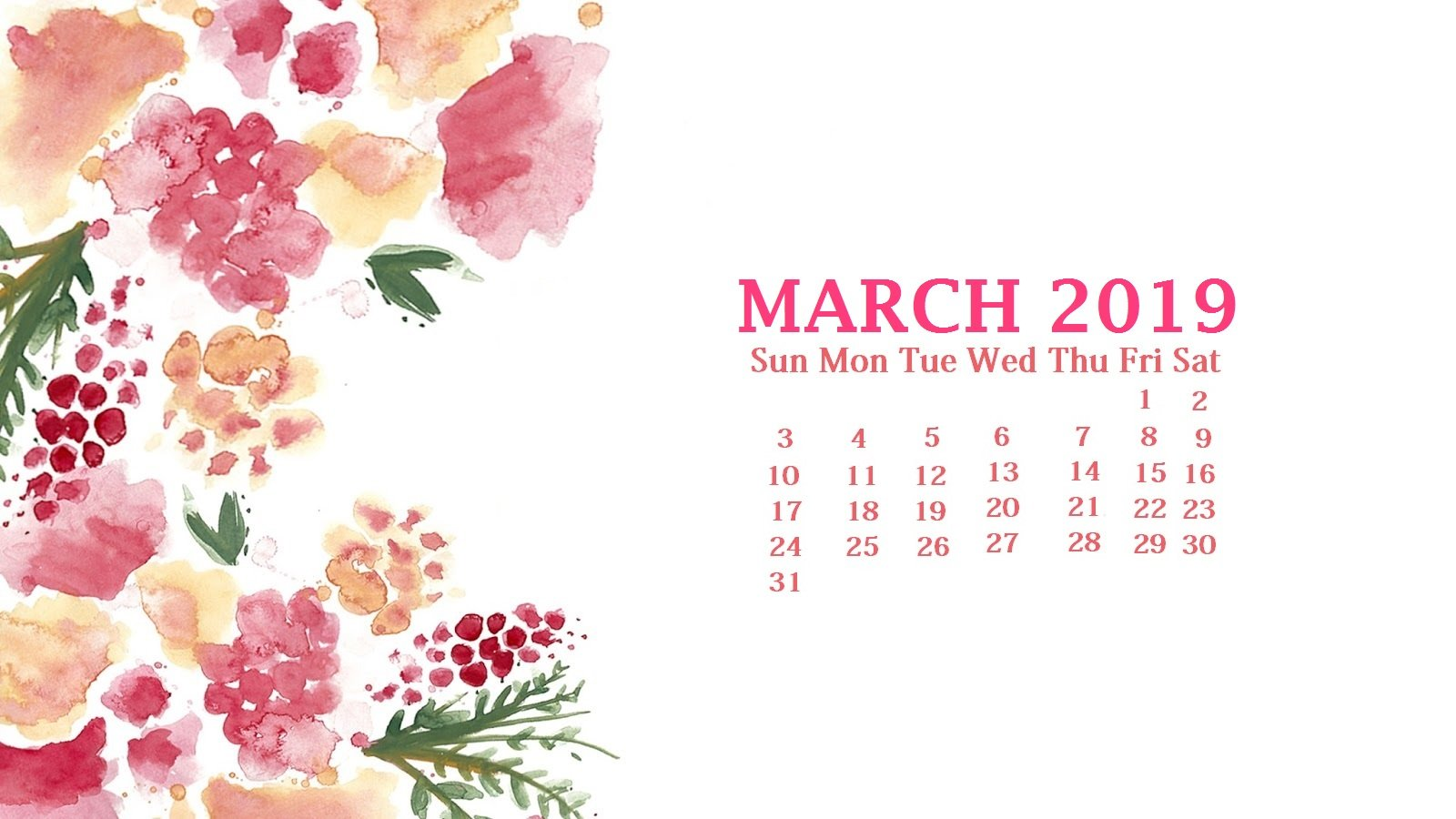 March 2019 Desktop Wallpaper Calendar Latest Calendar 1600x900