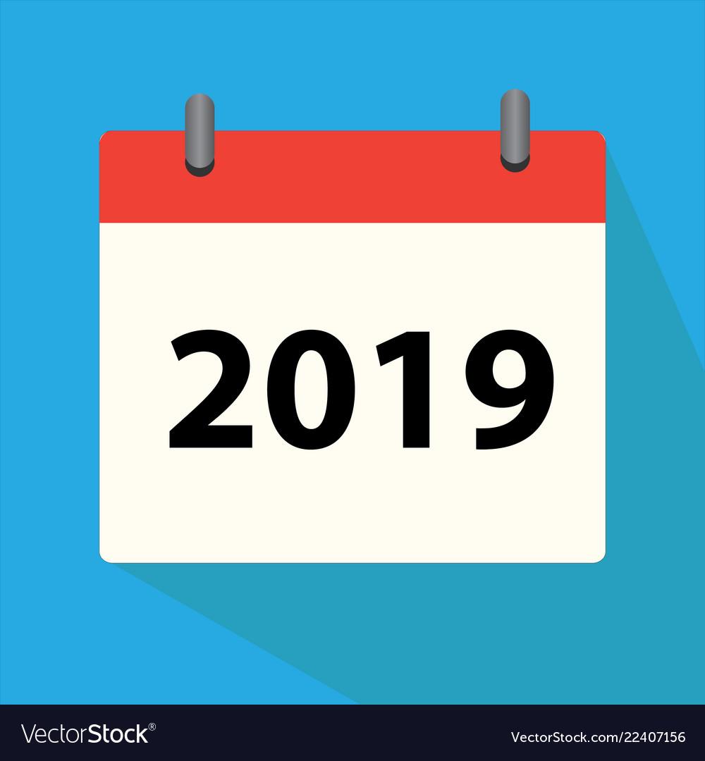 Calendar 2019 icon on white background calendar Vector Image 1000x1080