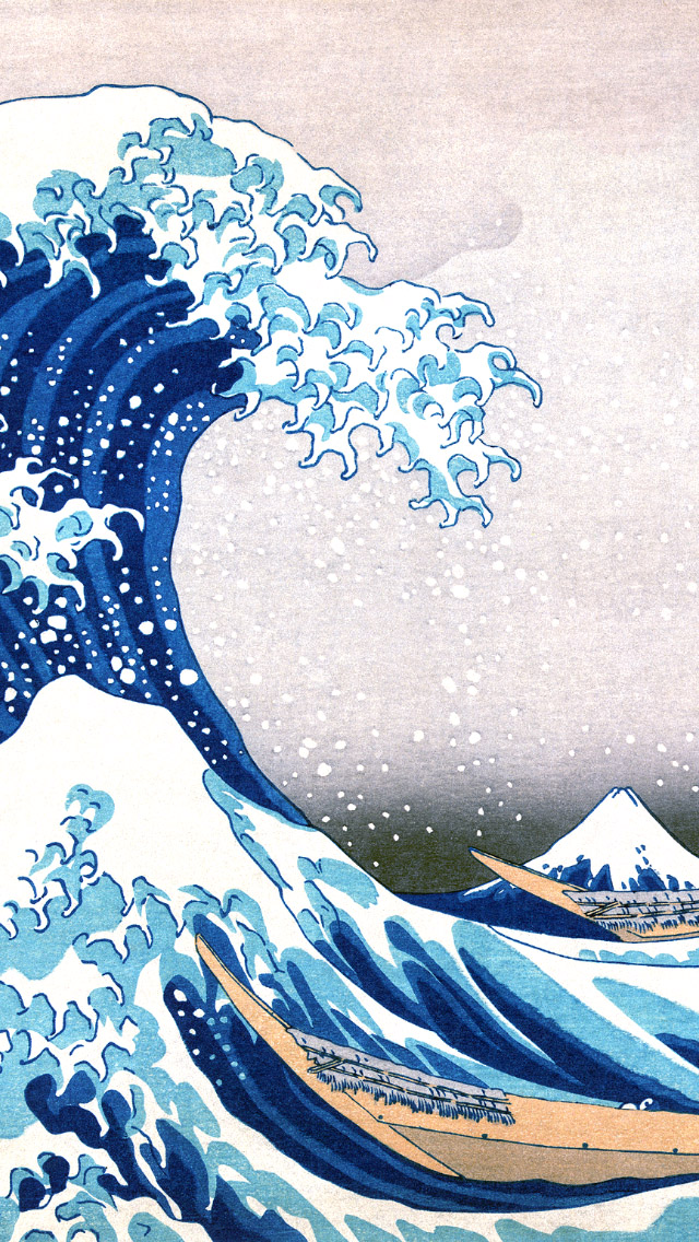 The Great Wave Off Kanagawa Painting iPhone 5 Wallpaper 640x1136