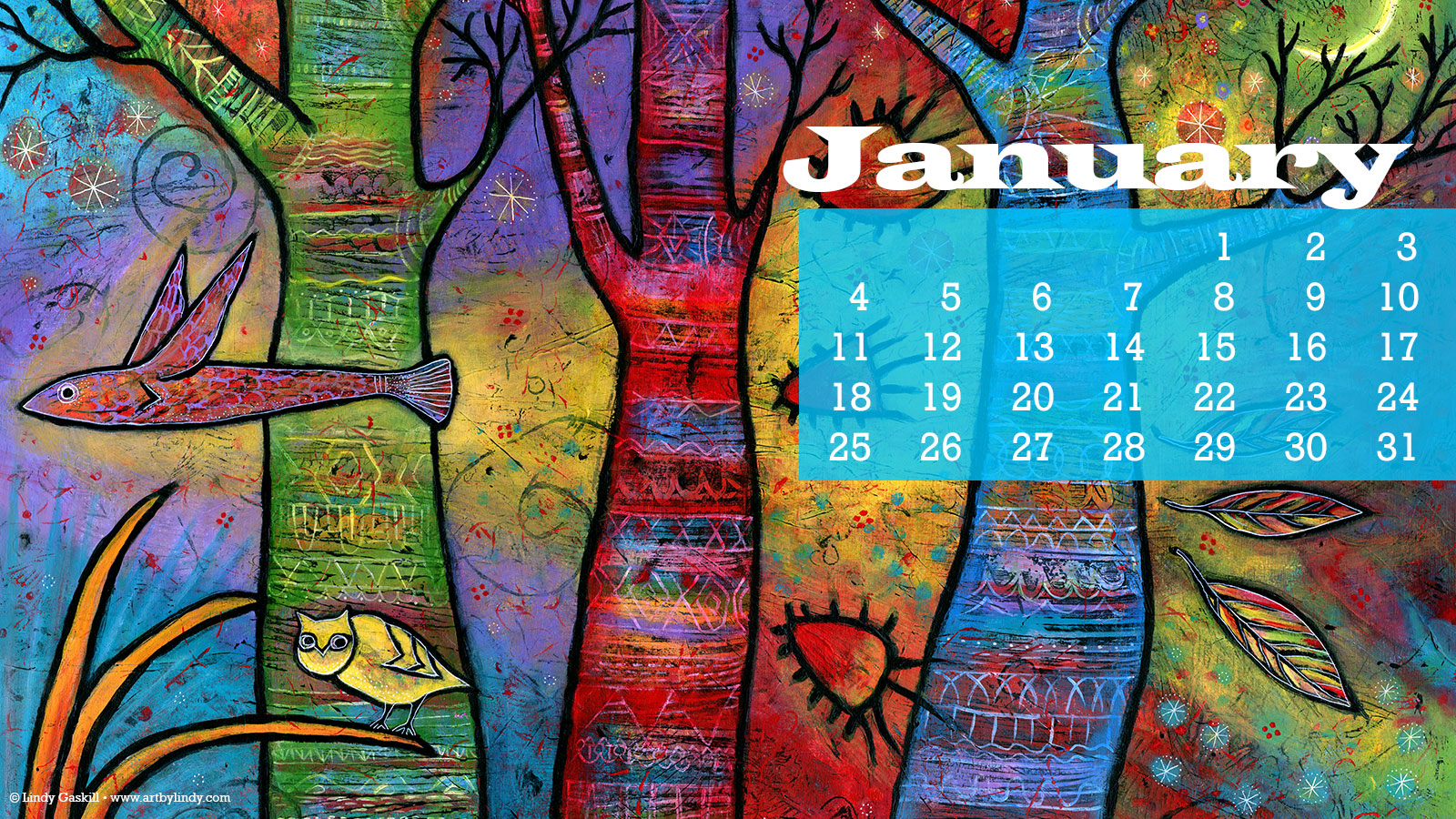 January 2015 Desktop Wallpaper Calendar by Lindy Gaskill 1600x900