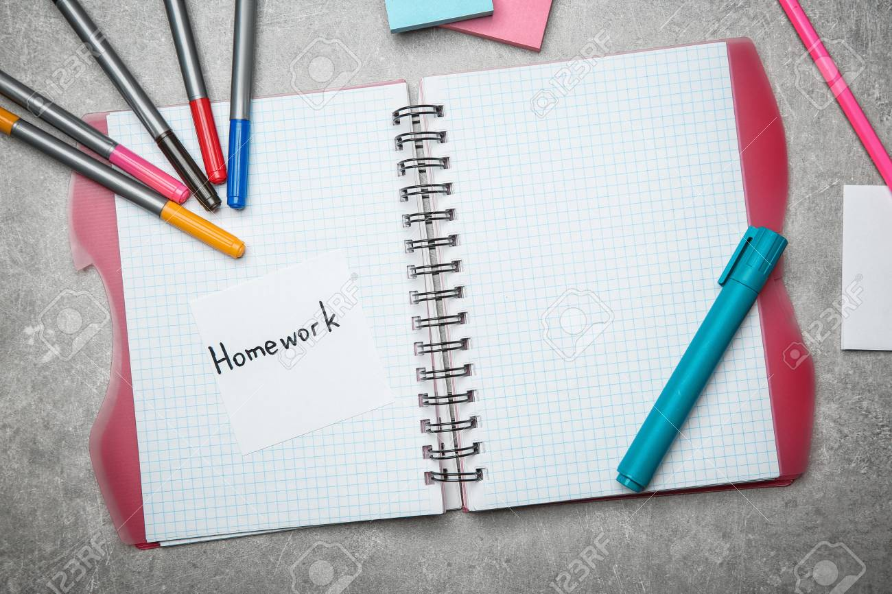 Notebook Sheet Of Paper With Word Homework And Stationery 1300x866