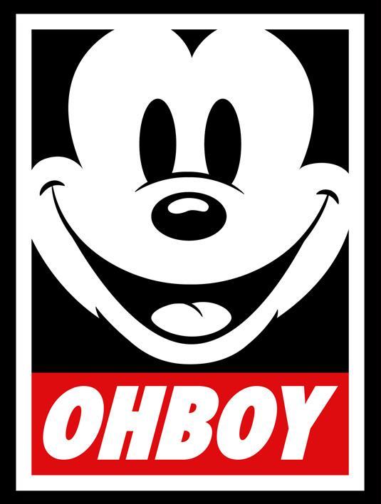 Maruyamas Ohboy design parodies Shepard Faireys Obey campaign 535x708