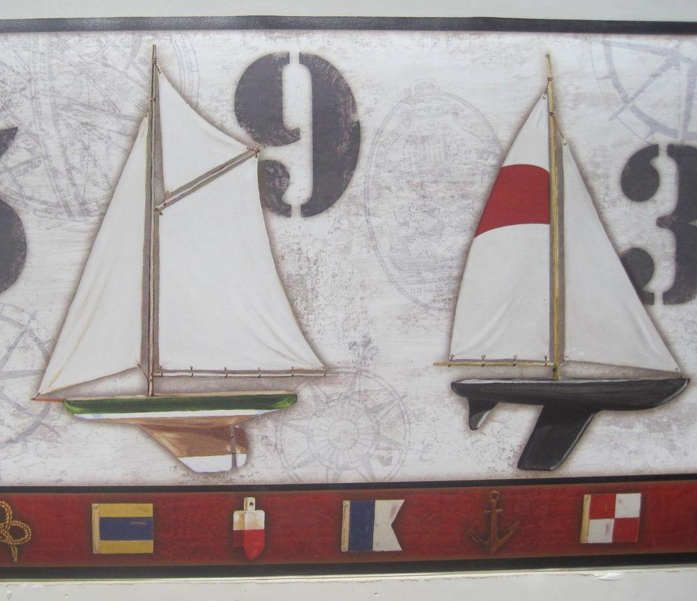 Sailing Sailboats Seashore Nautical Wallpaper Border 9 eBay 1000x863