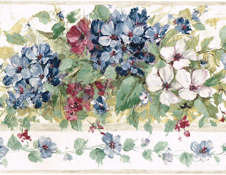 Blue Burgundy Hydrangea Flower Floral Green Leaf Brush Stroke Wall 912x708