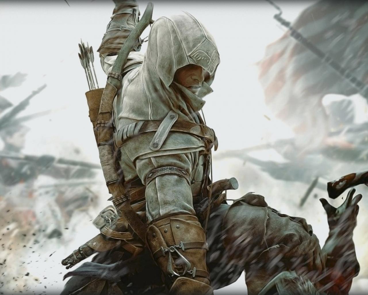 Download Wallpaper 1280x1024 assassins creed 3 desmond miles fight 1280x1024