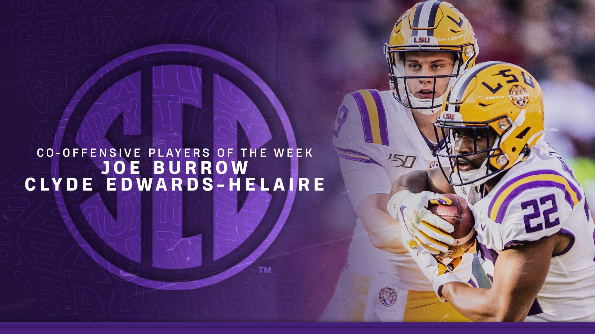 Burrow Edwards Helaire Named SEC Players of the Week   LSU Tigers 1920x1080