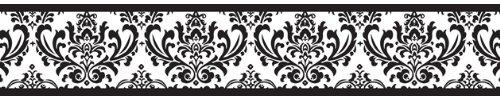 Black And White Damask Wallpaper Border Damask Wallpaper Border 500x99