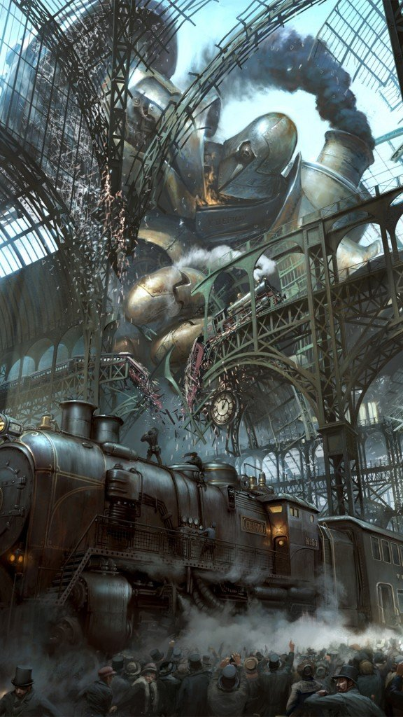 Steampunk Train Station Titan iPhone 6 Plus HD Wallpaper 576x1024
