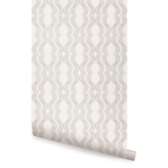 Wave Grey Peel Stick Fabric Wallpaper Repositionable 570x570