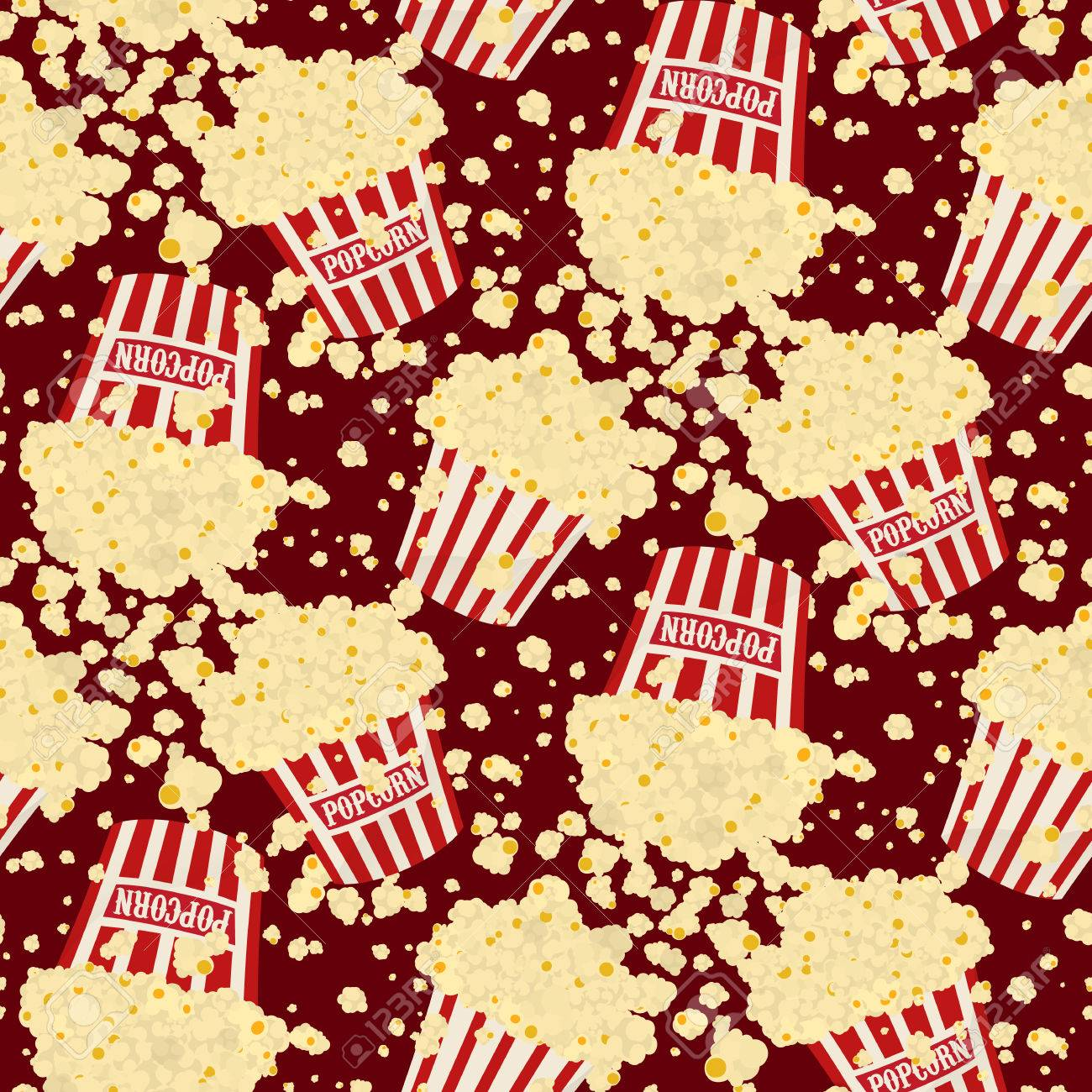 Seamless Vector Falling Popcorn Background On Red Royalty 1300x1300