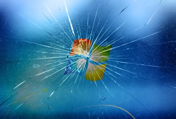 Wallpaper Glass Crack Logo Windows Microsoft Monitor Desktop 590x400