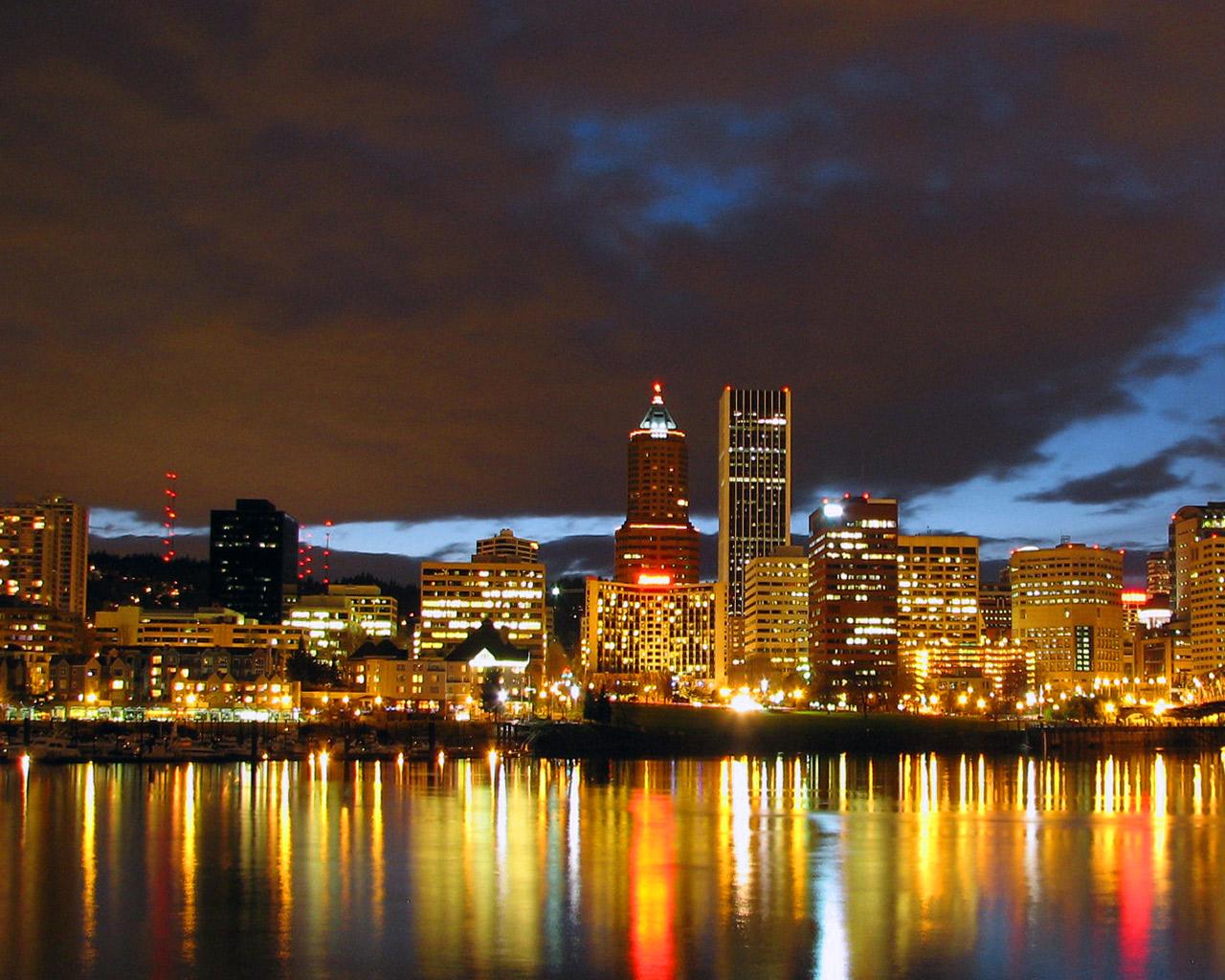 Portland Cityscape at Night   Portland Wallpaper 696651 1280x1024