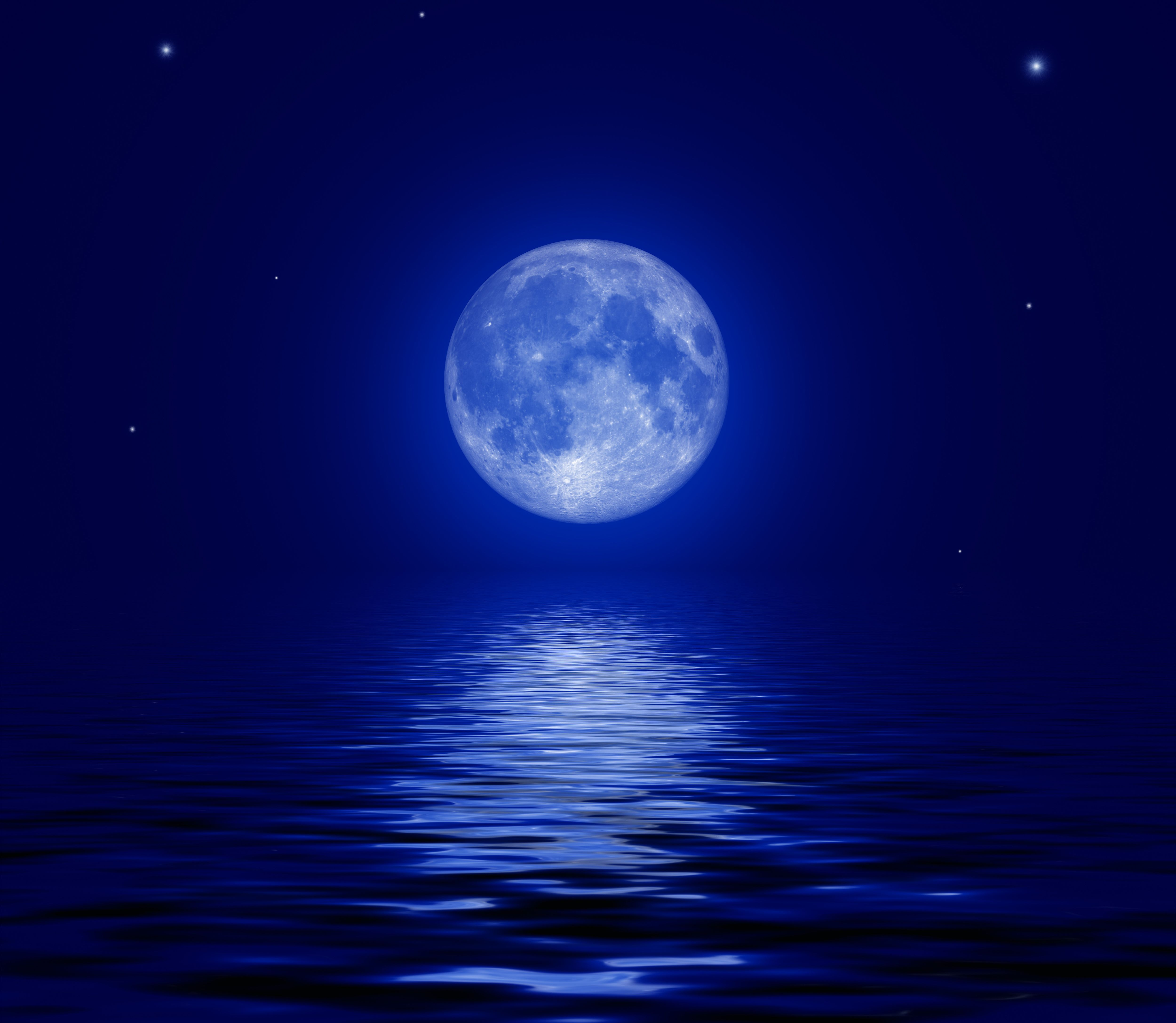 Full Moon in the Ocean Full Moon over the Sea Computer 5000x4350