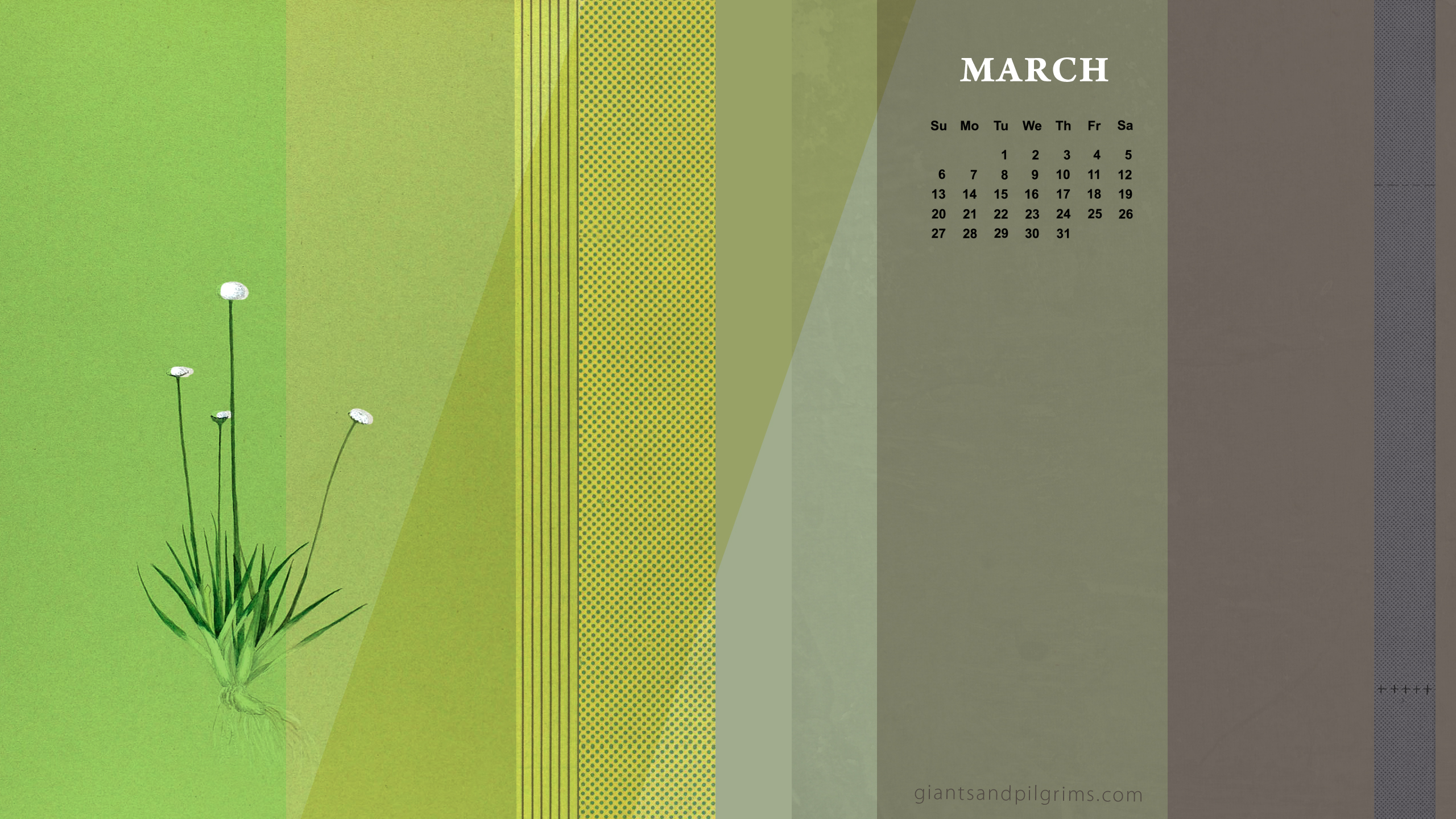 March Calendar Desktop and iPhone Wallpaper Giants Pilgrims 2560x1440