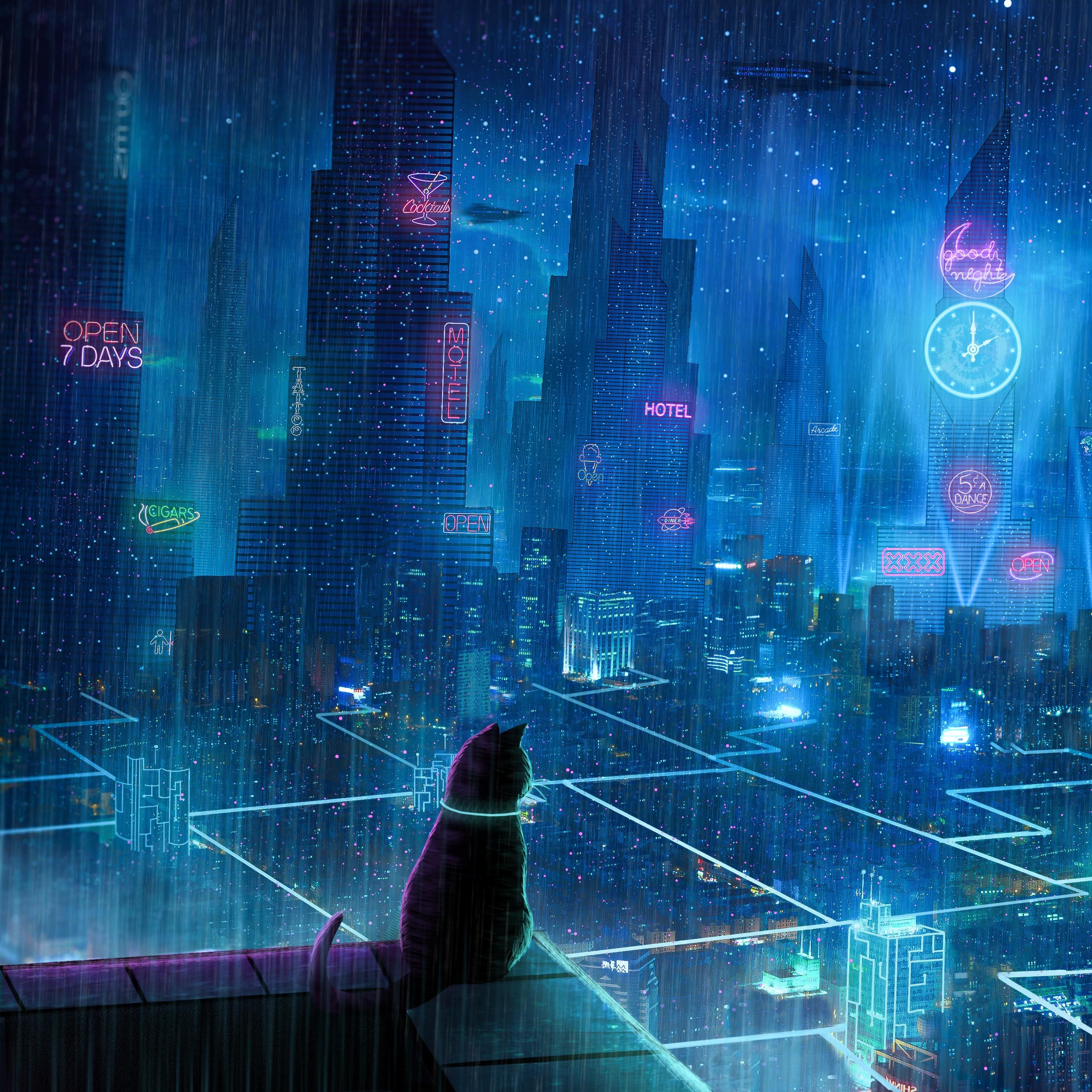 Download wallpaper 2780x2780 cat roof city neon lights 2780x2780