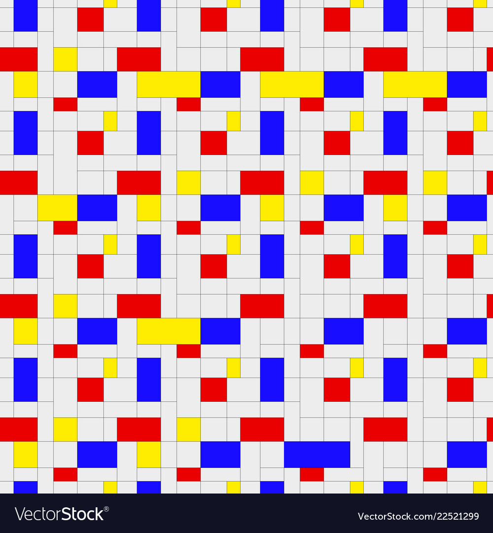 Seamless pattern colorful background in mondrian Vector Image 1000x1080