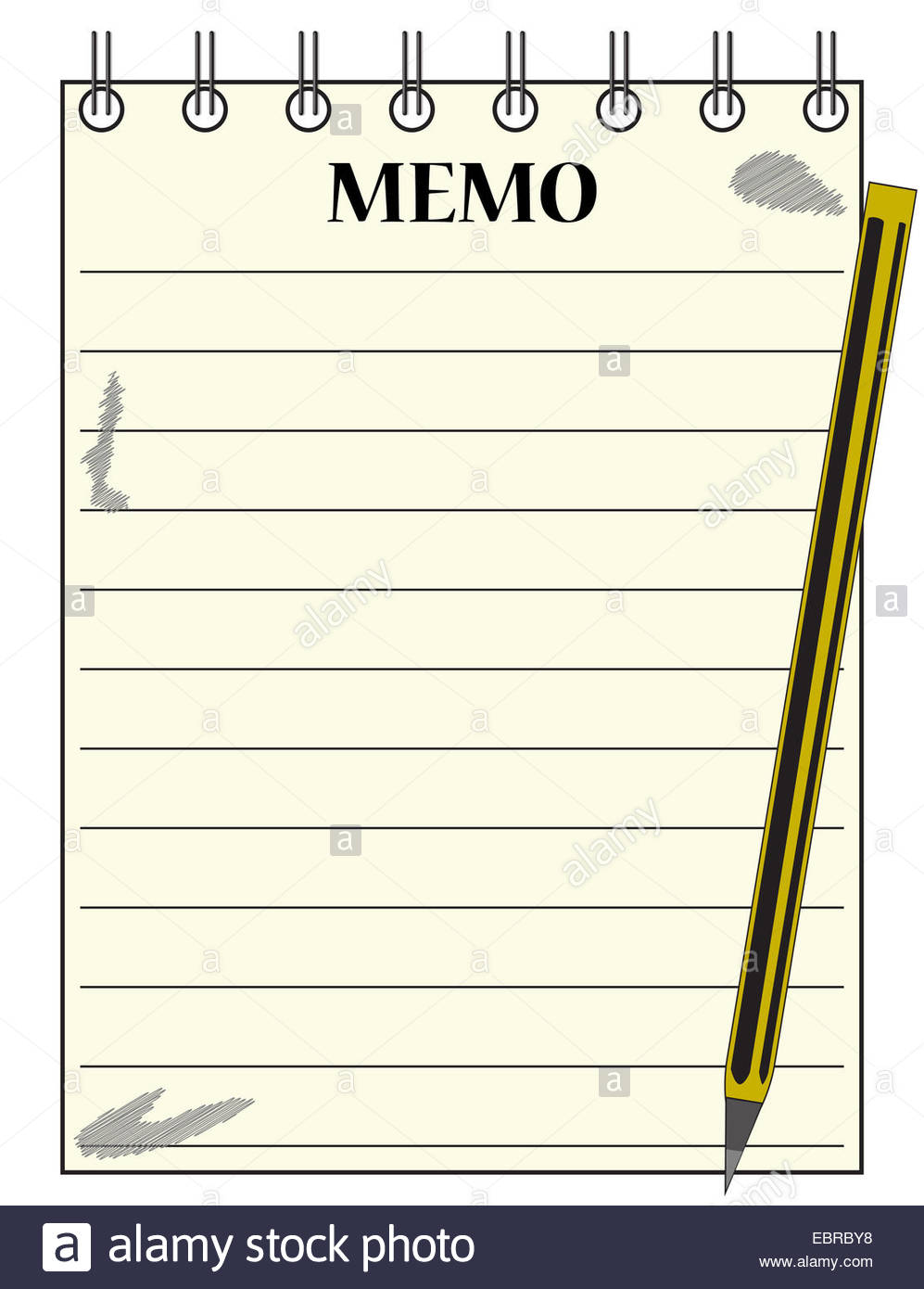 A lined memo blank notepad template or background with a pencil 997x1390