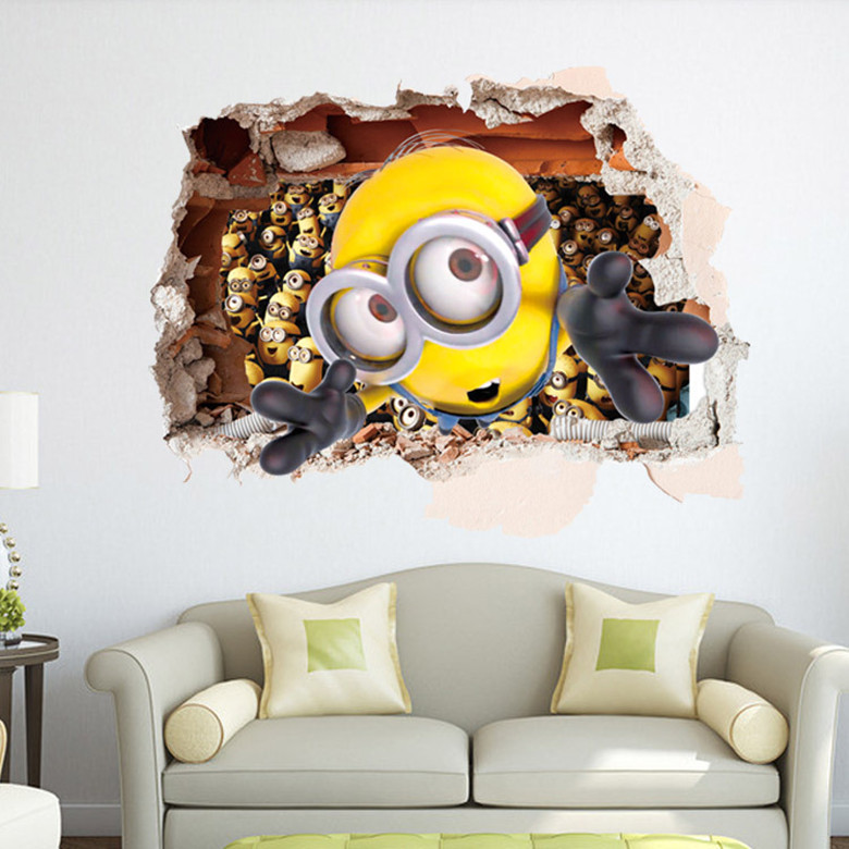 HOT Despicable Me minions 3D stereoscopic wall stickers living room 780x780