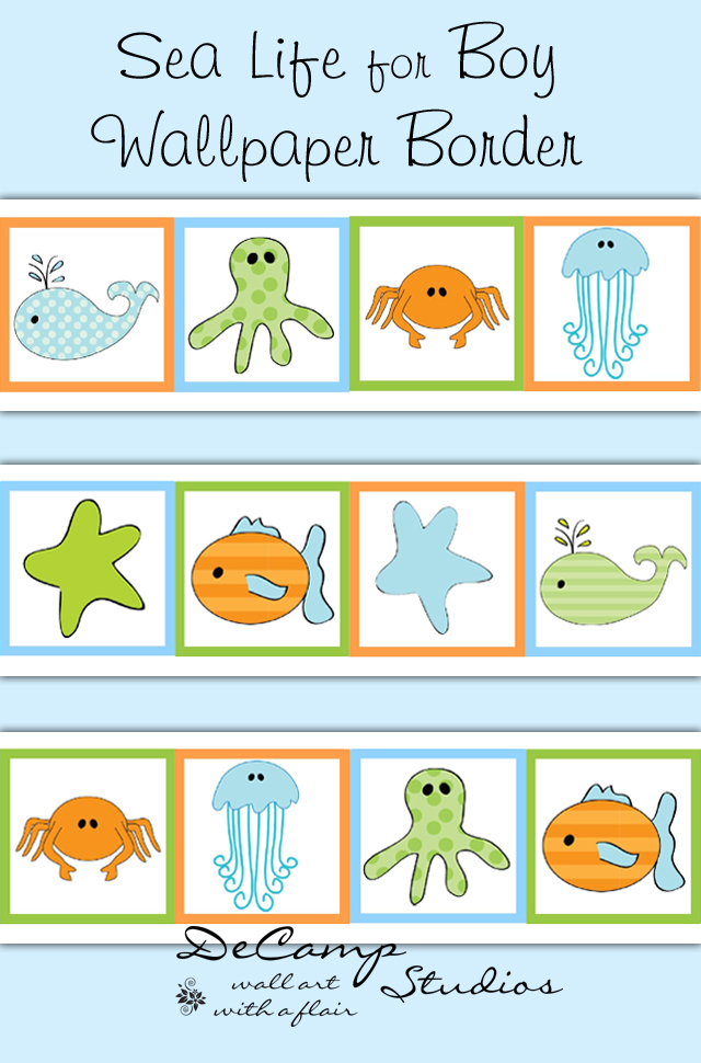 Sea Life Ocean Animals Wallpaper Border Wall Decals Boy Nautical [575 640x970