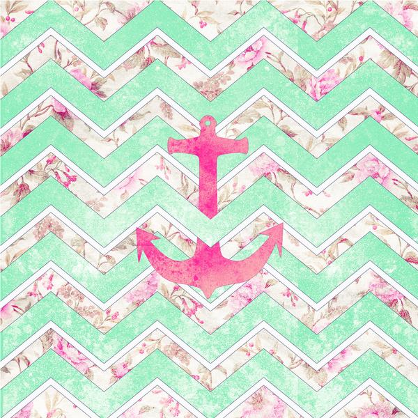 Pink Nautical Anchor Teal Floral Chevron Pattern Art Print 600x600
