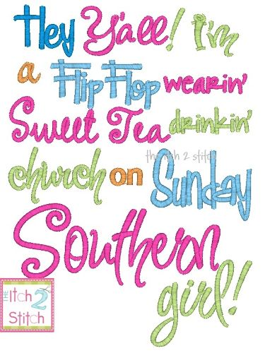 I2S Southern Girl Embroidery Design Words and Phrases Designs Pin 375x500