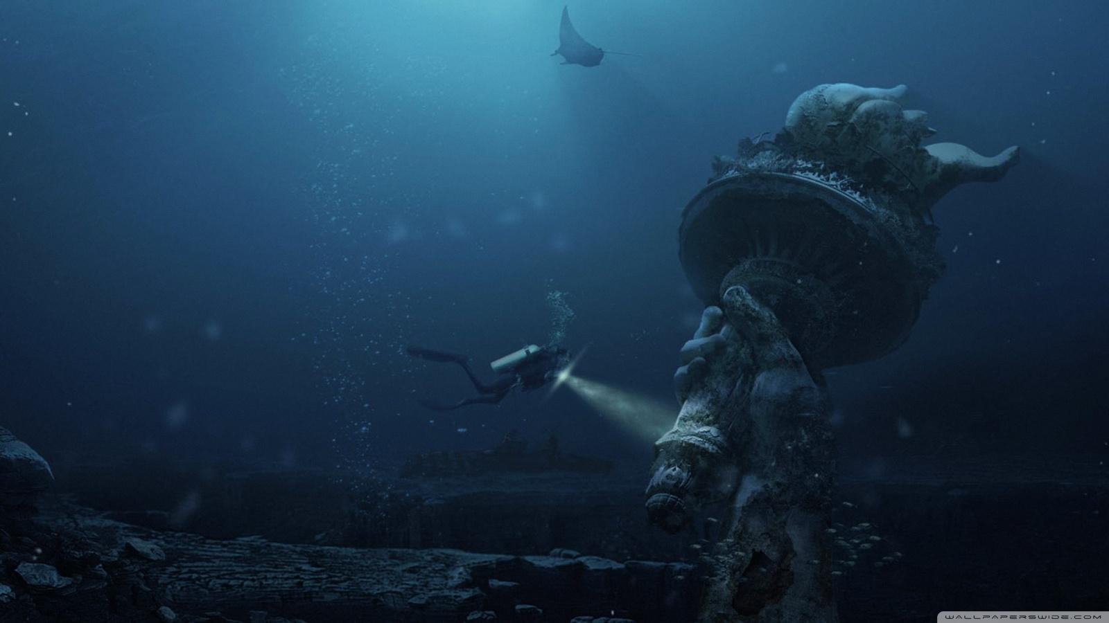 Underwater Ruins 4K HD Desktop Wallpaper for 4K Ultra HD TV 1600x900